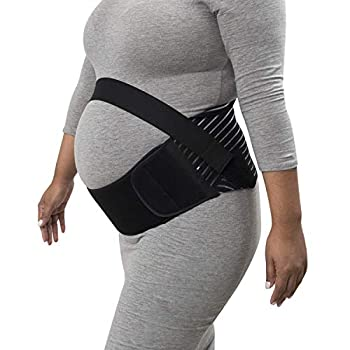 Houseables Maternity Belly Band and Abdominal Binder Breathable Pregnancy Support Belt Black Elastic Waist Support Prenatal Back Brace Pain Relief Wrap