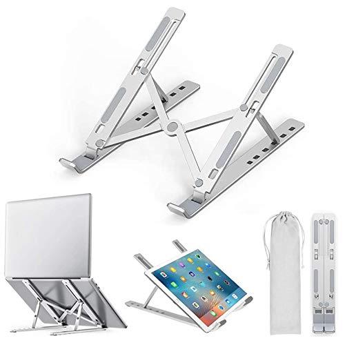 "EasyULT Soporte para Ordenador Portátil, Laptop Stand Aluminio Ventilado Plegable, Ergonomic Ajustables Soporte Portátil para 10-15.6"" Notebook/MacBook Pro/MacBook Air Laptop - Plata"