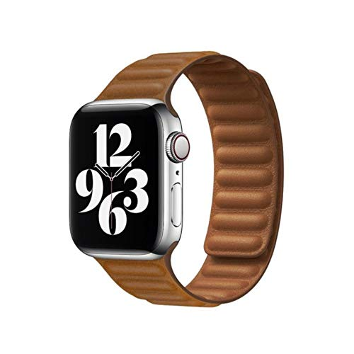 Pulsera de eslabones de cuero original para Apple Watch Band Series 6 SE 44 mm 40 38 mm 42 mm Correa de reloj Pulsera de bucle magnético IWatch 5 4 3-marrón, 38 mm o 40 mm