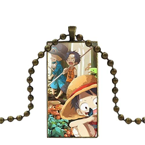 WXWXYS For Women Cute One Piece Anime Black Jewelry with Bronze Plated Glass Cabochon Choker Long Pendant Rectangle Necklace