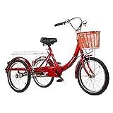 Triciclo para Adultos Single Speed 3-Wheel Tricycle Tricycle Tricyer Bike Cargo Trike Cruiser Ciclismo Triciclo Sistema De Frenos Doble para Deportes Al Aire Libre - Rojo(Color:B)