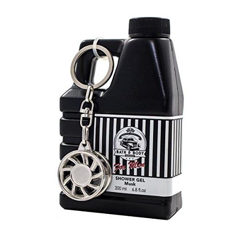 Duschgel für Männer im Deko-Kanister 200ml Bath & Body Services Auto Geschenk (Bath & Body Services schwarz weiß)
