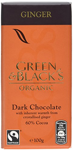 Green & Black's Organic Ginger Dark Chocolate Bar, 100 g, Pack of 5