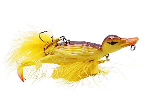 CREEYA 1piece 3D Duck Topwater Fishing Lure Yellow Duckling Floating...
