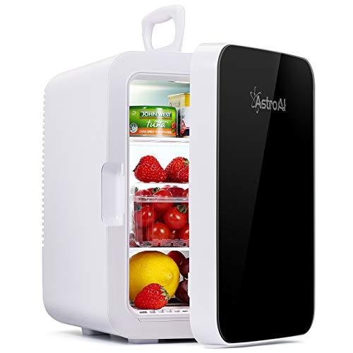AstroAI Mini Kühlschrank, 10 Liter / 15 Dosen Fridge mit Kühl/Heizfunktion und AC/DC Stromversorgung, Tragbare Kosmetik Kühlschrank für Hautpflege, Lebensmittel, Medikamente, Milch, Büro und Reisen