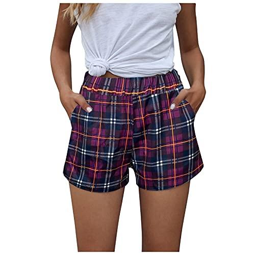 Pantalón Cortos Mujer Casual con Impresión a Cuadros Pantalones Cortos con Bolsillos Shorts de Verano Suelta y Cómodo Pantalones Cortos Transpirables Cita,Fiesta,Playa,Club