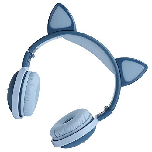 Cute Cat Ear Auriculares inalámbricos Bluetooth que brillan intensamente, Auriculares deportivos plegables HIFI con luz LED Jack de 3,5 mm Tiempo de uso prolongado para regalo corazón(Azul profundo)