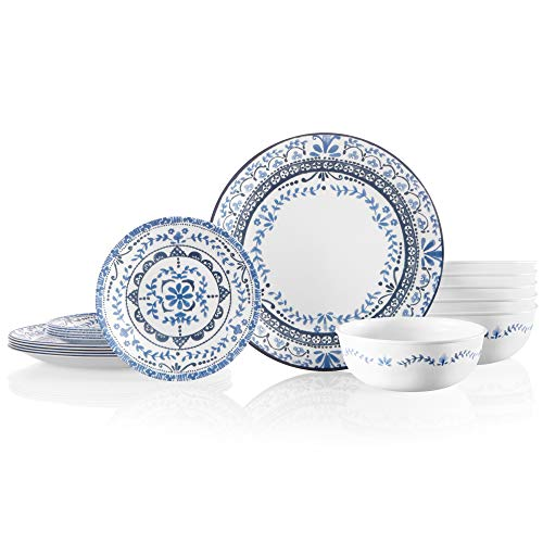 Corelle Service for 6 Chip Resistant Dinnerware Set, 18-Piece, Portofino