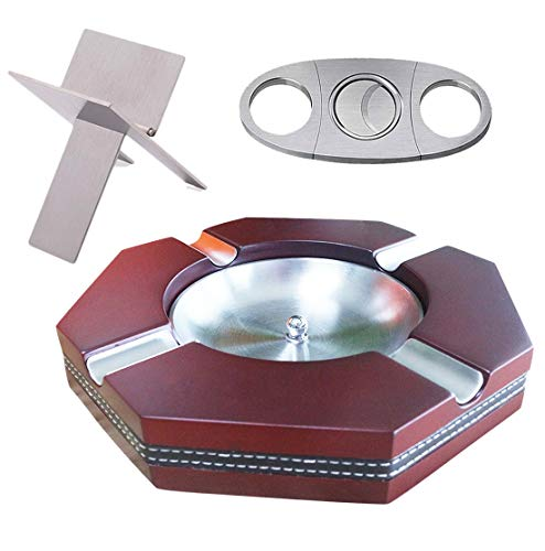 TRYX Cigar Accessories – Premium Cigar Kit with Ashtray, Cutter and Holder – 8.25 x 8.25 x 1.2 In Wooden and Steel Cigar Ashtray with 2.4 In Flume – Steel Cigar Cutter & Holder–Classy Present for Men
