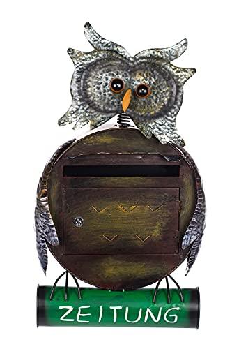 Sarah B Antiker großer und sehr edler Briefkasten, Tierdesign Eule, NA12A480 Handbemalt. sehr schön gearbeitet Metallverzierung, Mit Zeitungsrohr, Einfach nur der Hingucker Wandbriefkasten,