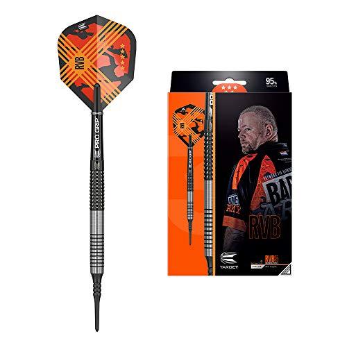 Target Darts Raymond Van Barneveld RVB 95 Gen 3 20G 95% Tungsten Soft Tip Darts Set Wolfram, Silber, Schwarz und Orange, 20 g