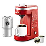 CHULUX Single Serve Coffee Maker Brewer attached Thermal Mug,12 Ounce Coffee Machine,One Button Function with Auto Shut-Off for Coffee or Tea,Red