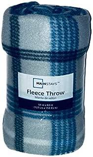 MAINSTAYS FLEECE THROW 50 in x 60 IN/ BLUE & GRAY PLAID