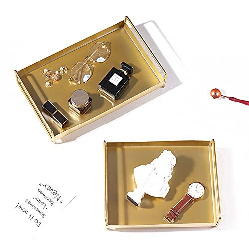Metalen decoratieve dienblad met handgrepen (set van twee in verschillende maat), gouden koffietafel dienblad voor badkamer, keuken, ottoman, kaptafel