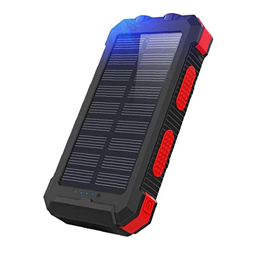 Cargador Solar Portátil Cargador Inalámbrico Móvil 26800mah Brújula del Teléfono Móvil De La Energía Solar para Aire Libre Rojo