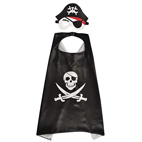 Capa de Pirata, Juego de Accesorios de Pirata 1 juego Capa de Capa con Parche en el ojo con Máscara de Fieltro Disfraz de Cosplay Para Niños Para Fiestas Temáticas de Halloween.