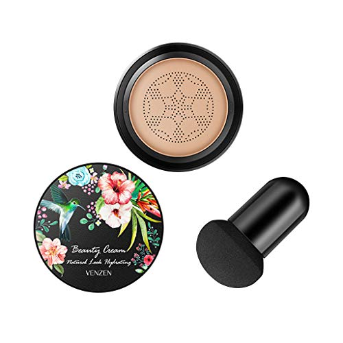 Cyeer Make-up Foundation+Schwamm,Luft Kissen Sahne wasserdichte Feuchtigkeitscreme Concealer Stiftung Mit Schwamm (A)