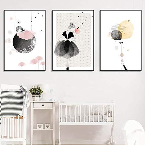 SpirWoRchlan 3er Set Kinderzimmer Babyzimmer Poster Ohne Bilderrahmen Mädchen Junge Deko Kinderposter Kunstdruck Babyzimmer Bilder Kinderzimmer Dekoration Poster (Karikatur Mädchen, 30 x 40 cm)