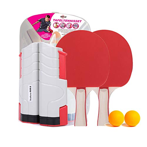 Fantastic Deal! SXJC Instant Table Tennis Game Portable Ping Pong Paddle Set with 2 Table Tennis Bat...