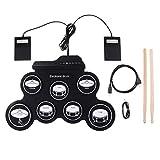 Yangers Kit de batería eléctrica para niños principiantes, portátil, digital, plegable, juego de tambores para práctica con pedales de 2 pies y 2 palos para niños y niñas
