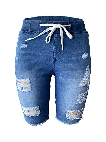Aodrusa Womens Denim Shorts Frayed Cuttoff Stretchy Ripped Short Jeans Elastic Waistband Drawstring Blue US 12