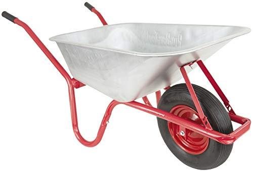 PRO-BAU-TEC PU10192 Schubkarre I Bauschubkarre mit 100 Litern Volumen I Gartenkarre mit kugelgelagertem PU-Rad I 160 kg max. Tragkraft