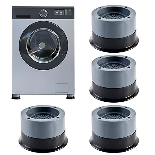 Waschmaschine Fußpolster,Vibrationsdämpfer, 4 Stück Universal Antivibrationsmatte,ibrationsdämpfer für Waschmaschine & Trockner 4cm (Grey, 4cm)