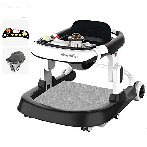 LYXCM Andador de Actividades múltiples para bebés, Hamaca Ajustable para niños pequeños Asiento Plegable Ruedas universales Mesa de Comedor Centro de Juegos Interactivo de 6 a 18 Meses