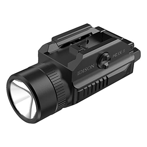 IDISON LED Tactical Flashlight 1200-Lumens Rail Mounted Compact Pistol Light for Picatinny MIL-STD-1913 and Glock Pistol Weapon Light with Cree XML2 LED 2 x CR123A Lithium Batteries