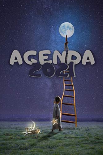 Agenda 2021: Agenda annuel, format A5 avec couverture souple, planificateur année 2021 pour rendez-vous perso ou pro