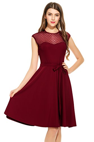 Zeagoo Women's A-Line Mesh Sleeveless Pleated Empire Waist Party Dress With Belt Wine Red Large