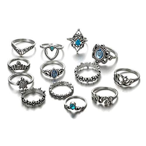 XIANZI Juego de 13 piezas de anillo de tobillo con piedras de flores, estilo bohemio, vintage, joya étnica, corona de perlas, tamaño 11