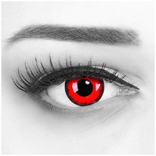 Farbige Kontaktlinsen Jahreslinsen Meralens 1 Paar rote schwarze Crazy Fun red lunatic .Topqualität zu Fasching Karneval Fastnacht Halloween mit Kontaktlinsenbehälter ohne Stärke - 2