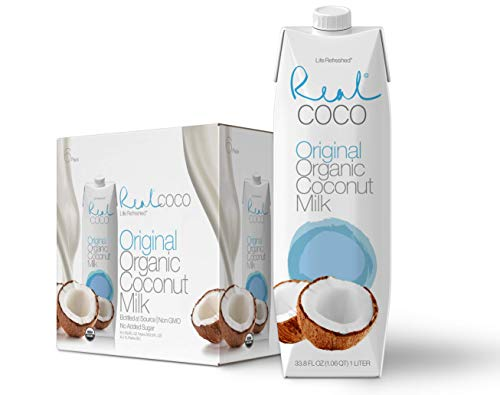 Real Coco Organic Original Coconut Milk Beverage (6-Pack 1L), USDA Organic, No-Added Sugar, Plant Based, Dairy & Soy Free, Vegan, Keto and Paleo Friendly
