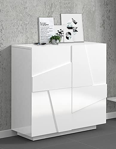 Dmora Bianco Lucido con Dettaglio Scarpiera Moderna, Made in Italy, a 2 Ante, Portascarpe da Ingresso, Mobile Multiuso, cm 81x38h86, Colore, Small