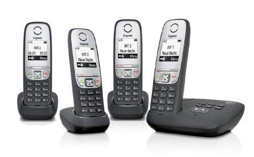 Gigaset A415A / A415 A/A 415A Quattro schwarz MIT Anrufbeantworter inkl. 4 Mobilteilen