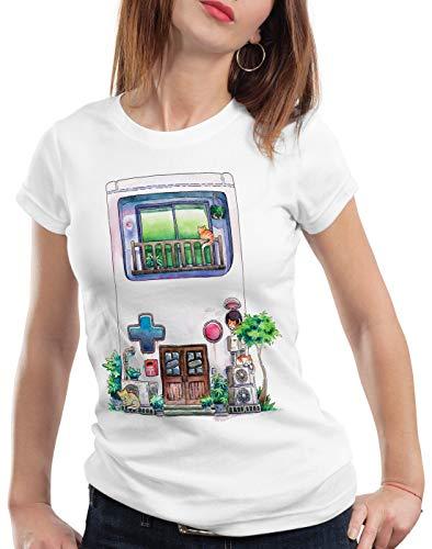 style3 Game Mansion Camiseta para Mujer T-Shirt Pixel Boy 8bit casa Japonesa, Talla:2XL