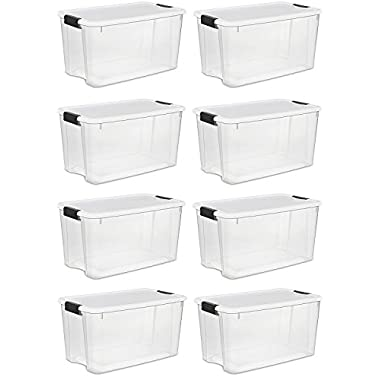 STERILITE 19889804 70 Quart/66 Liter Ultra Latch Box, Clear with a White Lid and Black Latches, 8-Pack