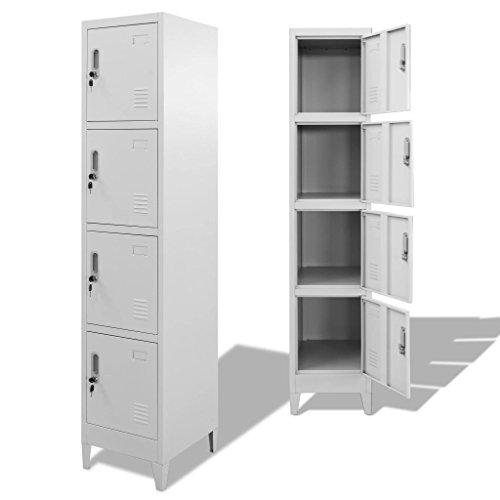 Metallschränke, Kleiderschrank, Büroschrank, Schrank mit 4 Stahlschränken, 38 x 45 x 180 cm, Grau