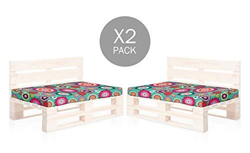 SUENOSZZZ-ESPECIALISTAS DEL DESCANSO Pack 2 Asientos para Sofas de palets, cojin Chill out Relleno con Espuma y enfundado en Tela Estampada Mandala Turquesa