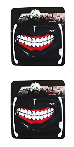 Master Online (2 Pack Anime Halloween Simulated Zip Teeth Cosplay Face Props Accessories for Girls Boys Black