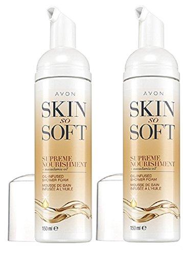 Avon Skin So Soft Supreme - Espuma para ducha con aceite infusionado, paquete de 2 unidades de 150 ml