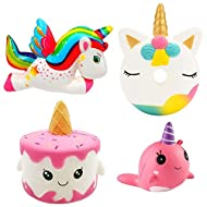 ★FOUR IN ONE PACKAGE - Enjoy the three most popular squishes on the market in a single pack. The Unicorn Cake, Cute Donut, Rainbow Unicorn and Narwhal with each pack. There's a reason the world is going crazy over these toys, they're quirky, cute and...