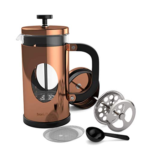 BonVivo GAZETARO I French Press - Design-Kaffeebereiter in Kupfer-Optik - Kaffeekocher aus Glas mit Edelstahl-Filter – Kaffeekanne 1 Liter (8 Tassen)