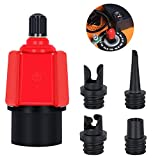 TILYO Inflatable SUP Pump Adaptor Compressor, Multifunction Standard Schrader Air Valve Pump Converter Adapter with 4 Nozzles Connectors for Inflatable Paddleboard Kayak Dinghy Air Boat Mattress