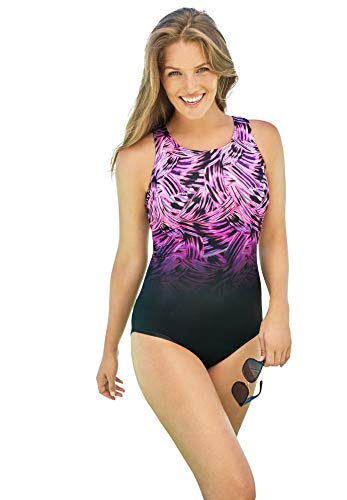 Swimsuits For All Women's Plus Size High-Neck One Piece Swimsuit - 20, Pink Wave Multicolored