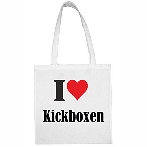 Tasche I Love Kickboxen Größe 38x42 Farbe Weiss Druck Schwarz