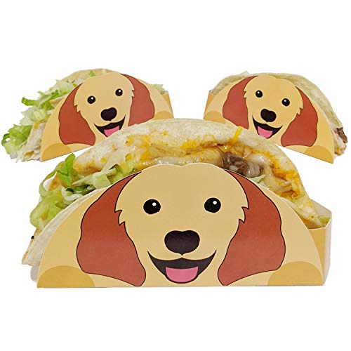 Dog Taco Holder, 50 Count, Great for Taco Tuesday, Birthday, Food Truck or Party Supplies - Disposable Coated Food Safe Paperboard Taco Stand