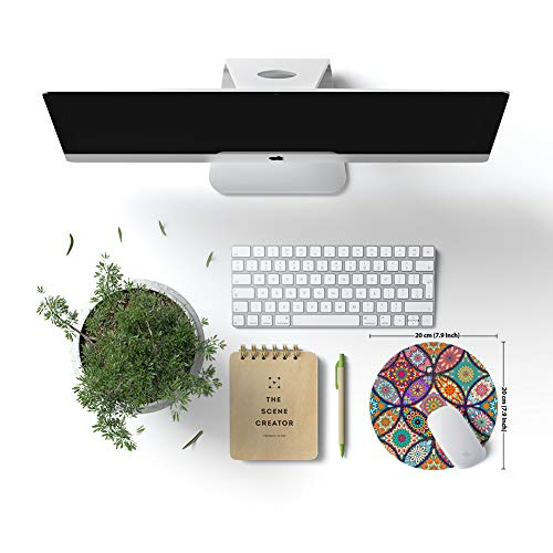 BOSOBO Mouse Pad, Round Mandala Mouse Mat, Cute Mouse Pad with Design, Non-Slip Rubber Base Mousepad with Stitched Edge, Waterproof Women Office Mouse Pads, Small Size 7.9 x 7.9 Inch, Pretty Mandala Photo #2