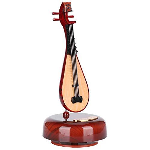 Estuche de música para Instrumentos Musicales, Caja de música giratoria, Mini Giratorio de 360 ° en Forma de Pipa, práctico para Regalos, decoración, Adornos para niños, hogar para niños
